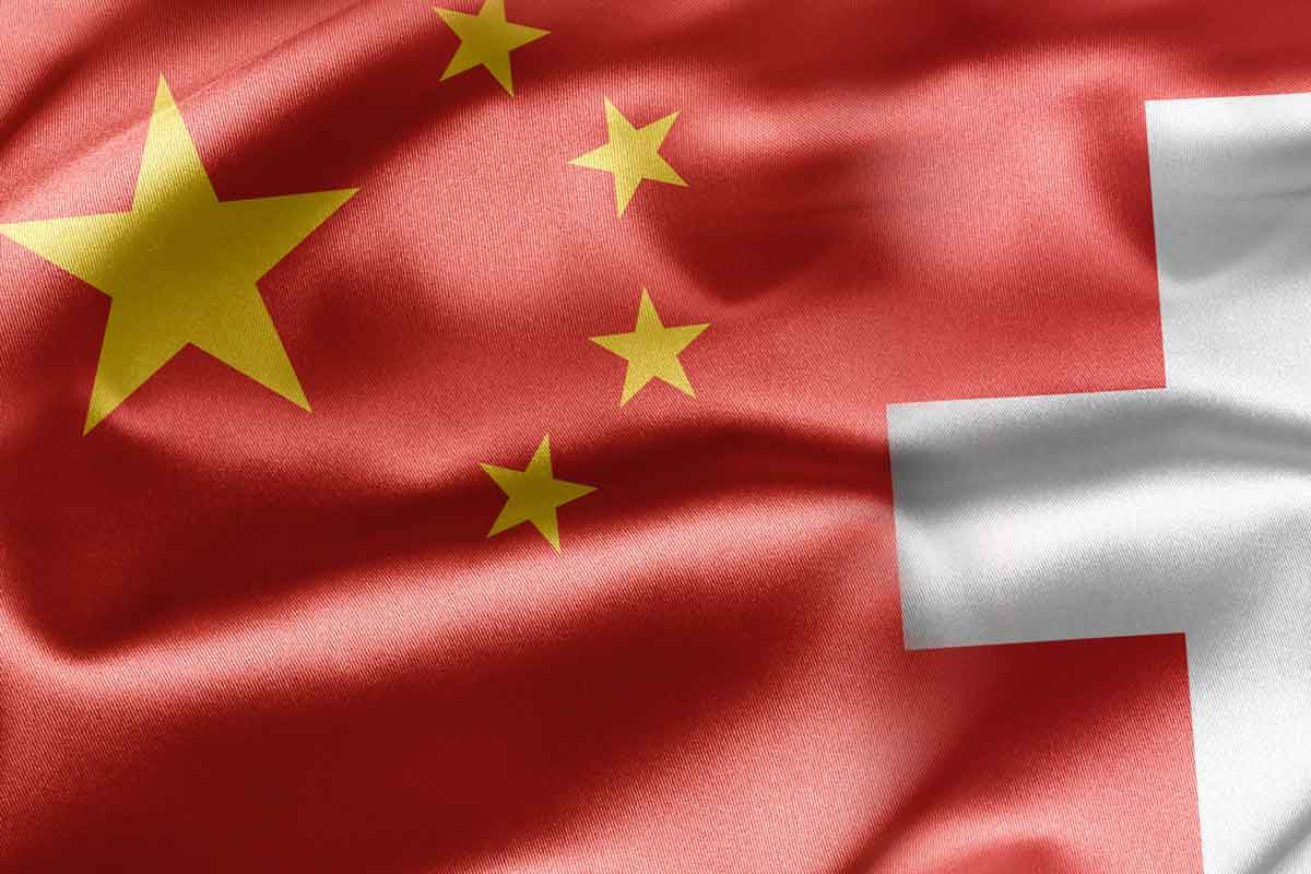 China and Swiss Flags